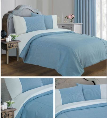 BLUE COLOUR MINIMALIST STRIPED DESIGN DUVET QUILT COVER SET LUXURY BEDDING